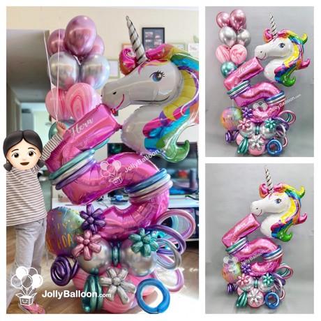 5th Birthday Unicorn Balloon Columns