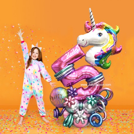 5th Birthday Unicorn Balloon Columns (Birthday Package B)